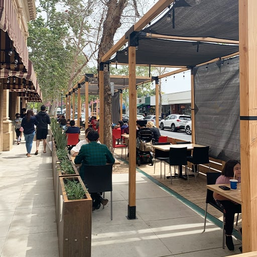 Outdoor dining parklet area for pizza n such